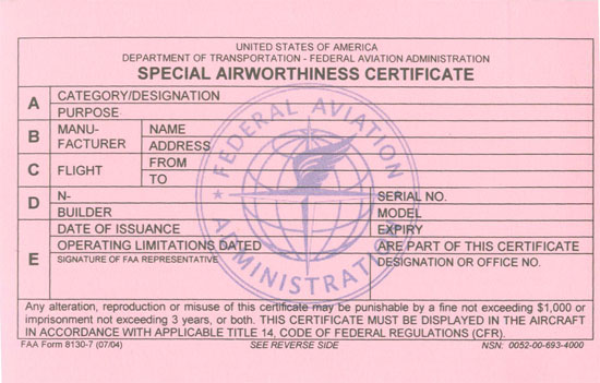 Application For Airworthiness Certificate Faa Form 8130 6