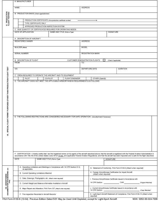 faa form 8130-6