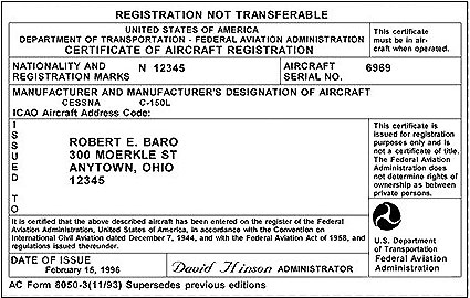 Aircraft Registration Certificate